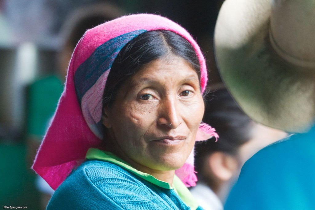 Woman in traditional clothing in the market of La Esperanza, Intibucá, Honduras.