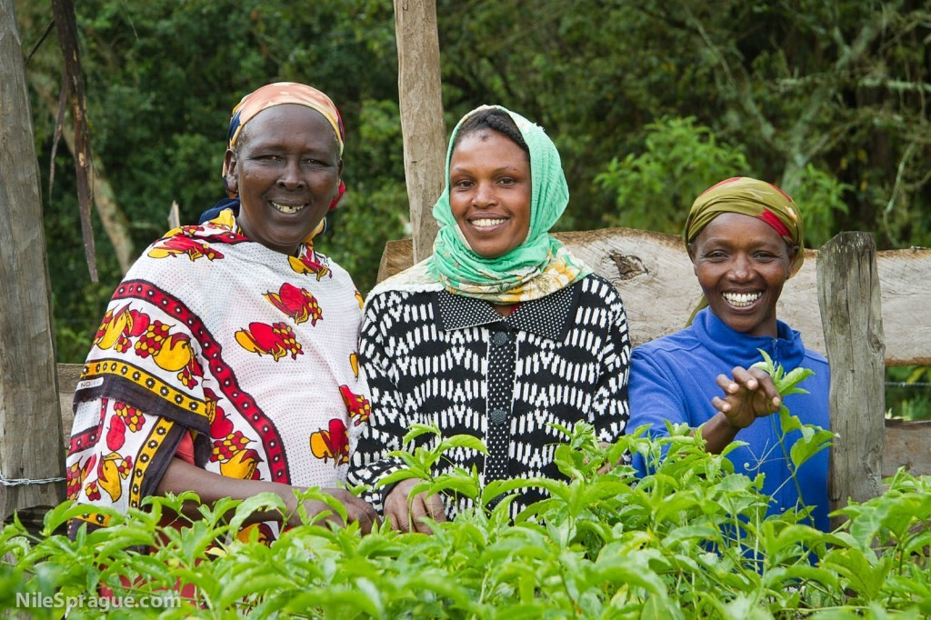Women smiling, passion fruit farmers, Tiret Self-Help Group, Project Nurture, Tiret, Kenya.